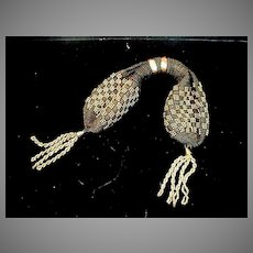 Victorian Ladies Black with Gold Bead Misers/Coin Purse