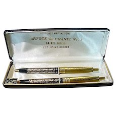 Vintage Chanel #5/Arpege 14 KT Gold Filled Perfumed Writing Pens, MIB!
