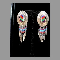 Vintage 1970's Southwestern Sterling Inlay Turquoise, Coral, Onyx Dangle Earrings