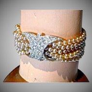 Beautiful 1960's Faux Pearl & Rhinestone Bracelet!