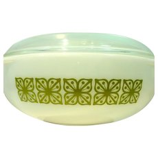 Rare, 'Autumn Floral Verde`', 2 Quart Covered Pyrex Caserole from 1966