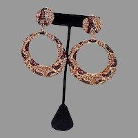 1980's Leopard Design Rhinestone Clip on Hoop Earrings!