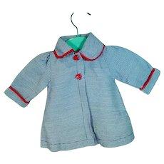 Charming VIntage 1950 Blue&White Check Doll Coat