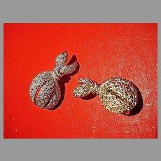 Unusual Monet Silvertone Clip On Earrings, 1980's