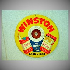 Vintage Winston Cigarette Tin Advertising  Display with Built in Thermometer