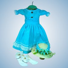 """Reproduction Antique Doll Dress for 21"""" Doll w/Accessories, 1970's"""