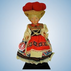 Vintage 1950's Moll's Trachten-Puppen Doll, Hungarian Costume