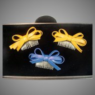 Vintage 1960's Faux Leather Hair Combs!