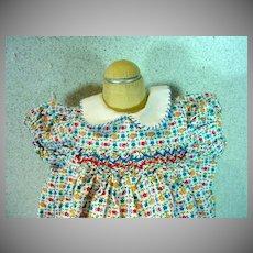 Charming 1950's Cotton Print Summer Doll's Dress