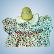 Charming 1950's Cotton Print Summer Doll's Dress