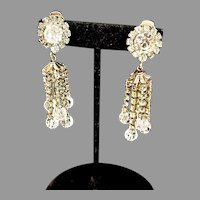 Beautiful 1960's Crystal & Rhinestone Clip-on Chandelier Earrings