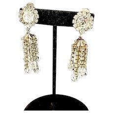 Beautiful 1960's Crystal & Rhinestone Clip-on Chandelier Earrings