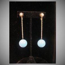 Vintage MOD Ball Drop Clip On Earrings, 1960's