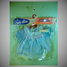 """Original Baby Alice Baby Doll OUtfit, Mint in Package, 1950's for 18-20"""" Baby Doll"""