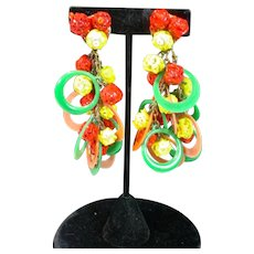 Colorful Vintage Statement Clip On Earrings, MOD, 1960's!