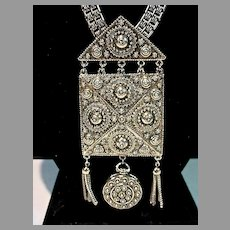Massive Silver Tone Goldette Pendant Locket Necklace, 1960's