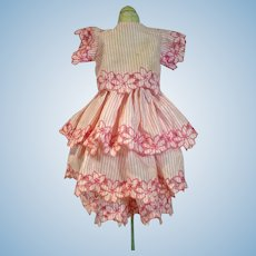 Pink Cotton Embroidered 3 Piece Doll Dress, 1950's
