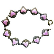 Vintage Sterling Silver & Enamel Heart Child's Bracelet
