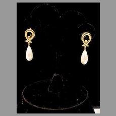 Elegant Monet Faux Pearl Drop Clip On Earrings, 1980's