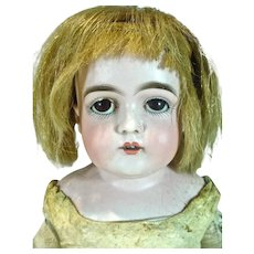 """Antique German Bisque Doll on Kid Body, 20"""", 1890's As Is"""