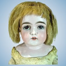 "Antique German Bisque Doll on Kid Body, 20"", 1890's As Is"