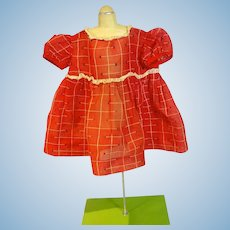 Adorable Vintage Red Cotton Doll Dress, 1950's