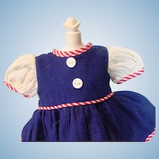 Charming Navy, Red and White Cotton Doll Dress, 1950's