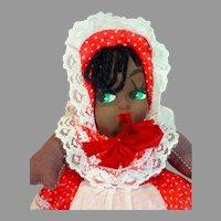 Charming 1950's Oil Cloth Black Americana Carnival Doll