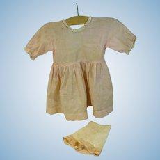 Vintage Pink Cotton Broadcloth Dress and Panties, 1930's