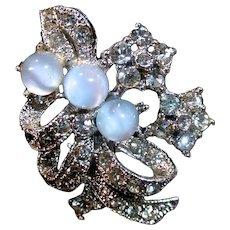 Delicate Rhinestone Clip On Earrings, 1950's