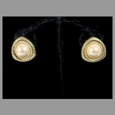 Monet Faux Pearl and Gold Tone Clip On Earrings, 1980's