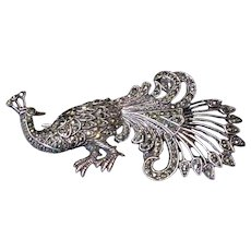 Sterling Silver and Marcasite Peacock Brooch, Vintage!