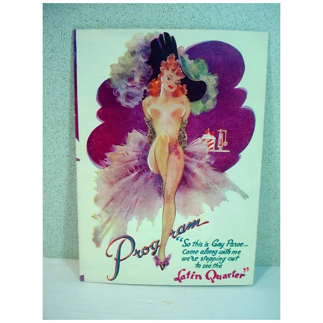 Original 1940 S Nyc Night Club Latin Quarter Program Pin Up Girl