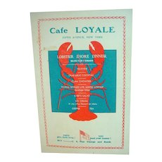 Cafe Loyale, NYC Restaurant Menu, 1944