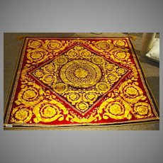 """Gianni Versace Label, Double Sided 52"""" Square Throw"""