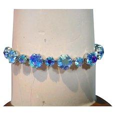 Beautiful Weiss Blue Rhinestone Bracelet, 1950's