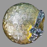 Elegant Jomaz Gold Tone & Rhinestone Clip on Earrings, 1960's