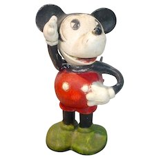 1930's Bisque Mickey Mouse Jonted Arm Figure, Walt Disney