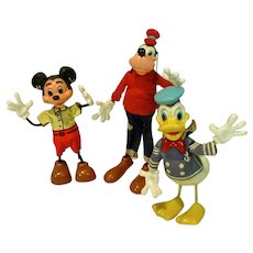 Marx Disney Twistables, Micky Mouse, Donald Duck and Goofy, 1961