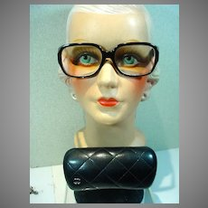 Vintage Ladies Chanel Eyeglasses w/Quilted Case, 1990's
