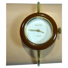 Vintage Ladies Gucci Bangle Watch with One Bezel, 1970's