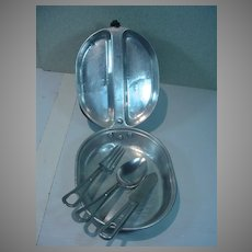 Authentic World War II Aluminum Mess Kit from 1945