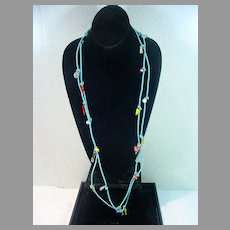 Braided Blue Leather  Allegro Necklace with Charms, 1990's