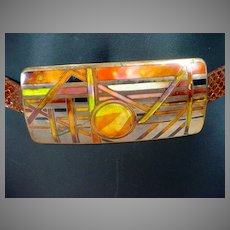 Vintage David Kuo Enamel Large Belt Buckle, Signed, 1980's