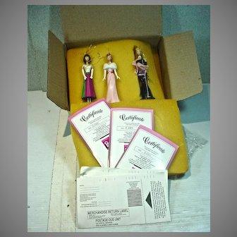 3 Ashton Drake Classic Barbie Ornaments, MIB, 1996