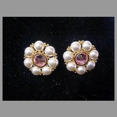Napier Faux Pearl & Rhinestone Clip-on Earrings, 1980's