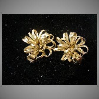 Napier Faux Gold Tone Flower Clip-On Earrings, 1960's