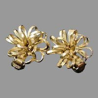Napier Faux Gold Tone Flower Clip-On Earrings, 1960's