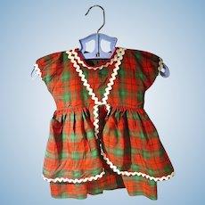 1950's Plaid Rayon Doll Dress, Chic!