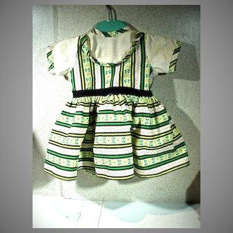 1950's Cotton Print Doll Dress, Charming!